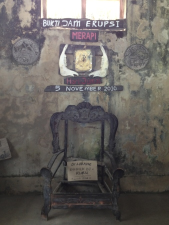 Scorched chair in the Kaliurang Museum