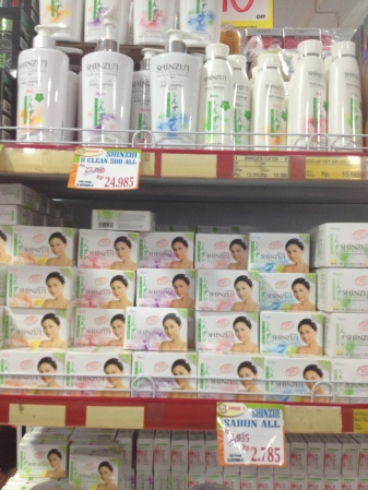 This is a shelf-sized display of skin whitening products at the college supermarket. The selection of whitening soaps and creams continues along another wall-sized shelf. Finding healthy soaps in Indonesia can be a significant challenge for women, since almost all Indonesian skin products contain lightening chemicals.
