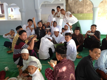 The interior of the mosque after the conclusion of holiday services. Here, the the village men took their breakfast.