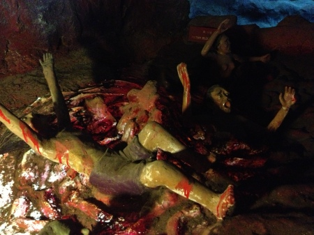 Prostitutes drowning in a pool of blood
