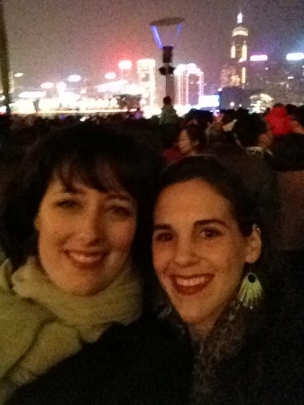 Stefanie and I on Kowloon Pier, overlooking the light show