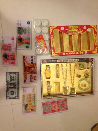 Paper offerings from the Buddhist shop