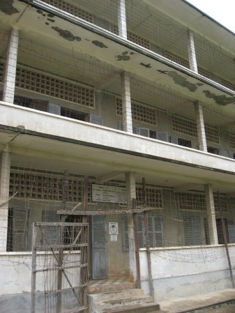 "As a testament against formal education, the Khmer Rouge imprisoned ""traitors"" inside this high school in Phnom Penh, which now houses the Tuol Sleng Genocide Museum. From here, the prisoners were taken out to the Killing Fields where they were slaughtered."