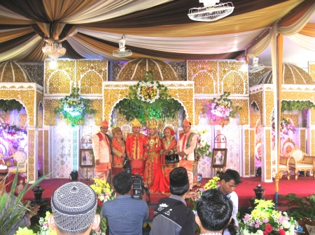 Zie and her family beneath the Marriage Tent