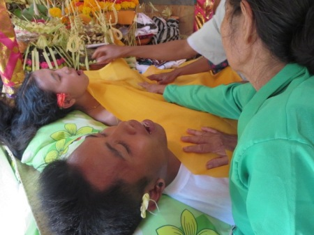 """Potong Gigi"" or Teeth Filing Ceremony, mandatory in the adult initiation process among Balinese Hindus"